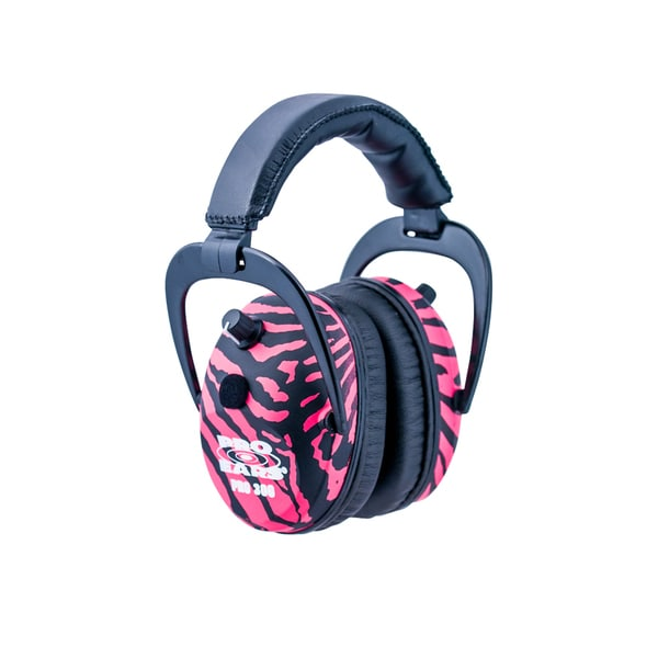 Pro Ears - Pro 300 - Electronic Hearing Protection and Amplification NRR 26 Pink Zebra Ear Muffs