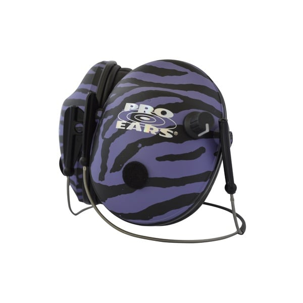Pro Ears - Pro 200 Behind The Head Headband Electronic Hearing Protection & Amplification Purple Zebra Low Profile Cup Earmuffs
