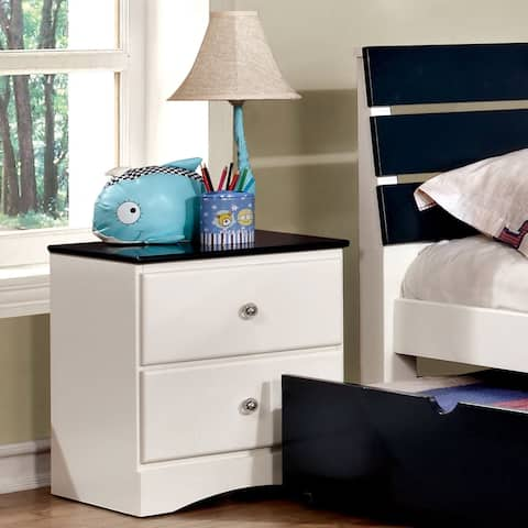 Piers Transitional 2-tone White 2-drawer Youth Nightstand by FOA