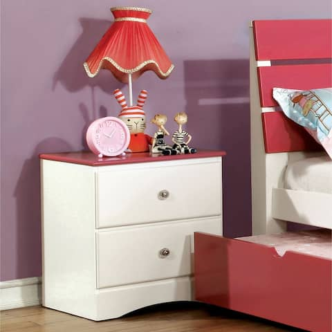 Furniture of America Piers Transitional 2-tone White 2-drawer Youth Nightstand