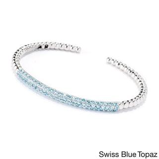 Sterling Silver 7-inch Round Gemstone Beaded Cuff Bracelet