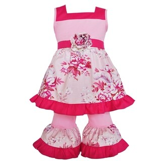 AnnLoren Girls Rose Tunic and Capri Spring Outfit