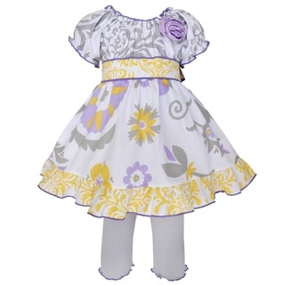 AnnLoren Girls Boutique Lavender Floral Damask Dress and Capri Outfit