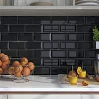 SomerTile 4x7.88-inch Thera Biselado Nero Ceramic Wall Tile (50 tiles/12 sqft.)