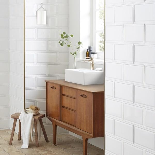 Shop SomerTile Xinch Dobladillo White Ceramic Wall Tile - 6x12 subway tile shower