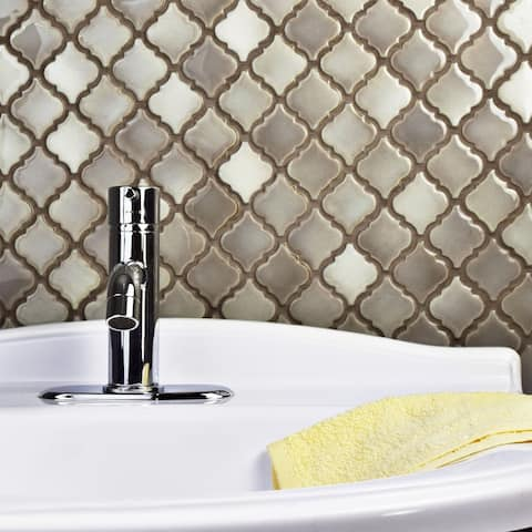 SomerTile 12.375x12.5-inch Antaeus Dove Porcelain Mosaic Floor and Wall Tile (10 tiles/10.7 sqft.)