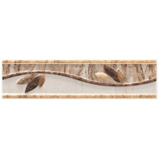 SomerTile 2x8-inch Ravenna Base Beige Ceramic Listello Trim Wall Tile (Pack of 10)