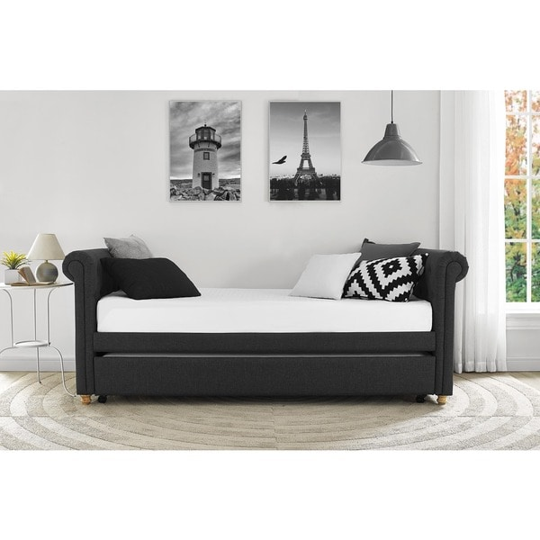 Shop Dhp Sophia Grey Wood Metal Linen Upholstered Daybed