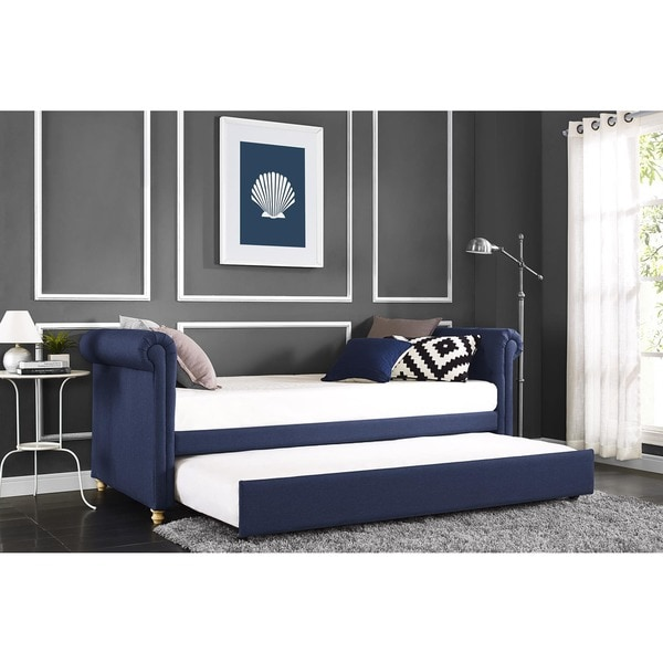 DHP Sophia Navy Linen Upholstered Daybed and Trundle. DHP Sophia Navy Linen Upholstered Daybed and Trundle   Free