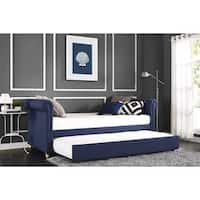 Silver Orchid Lawrence Navy Linen Upholstered Daybed and Trundle