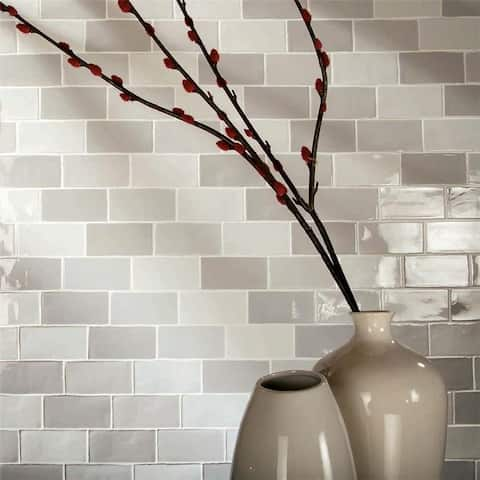 SomerTile 3x6-inch Antiguo Craquelle Gris Mix Ceramic Wall Tile (32 tiles/4 sqft.)