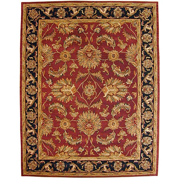 Hand Tufted Agra Red Gold Wool Rug 8 Round: Hand-tufted Agra Burgundy And Black Indian Wool Rug (5' X