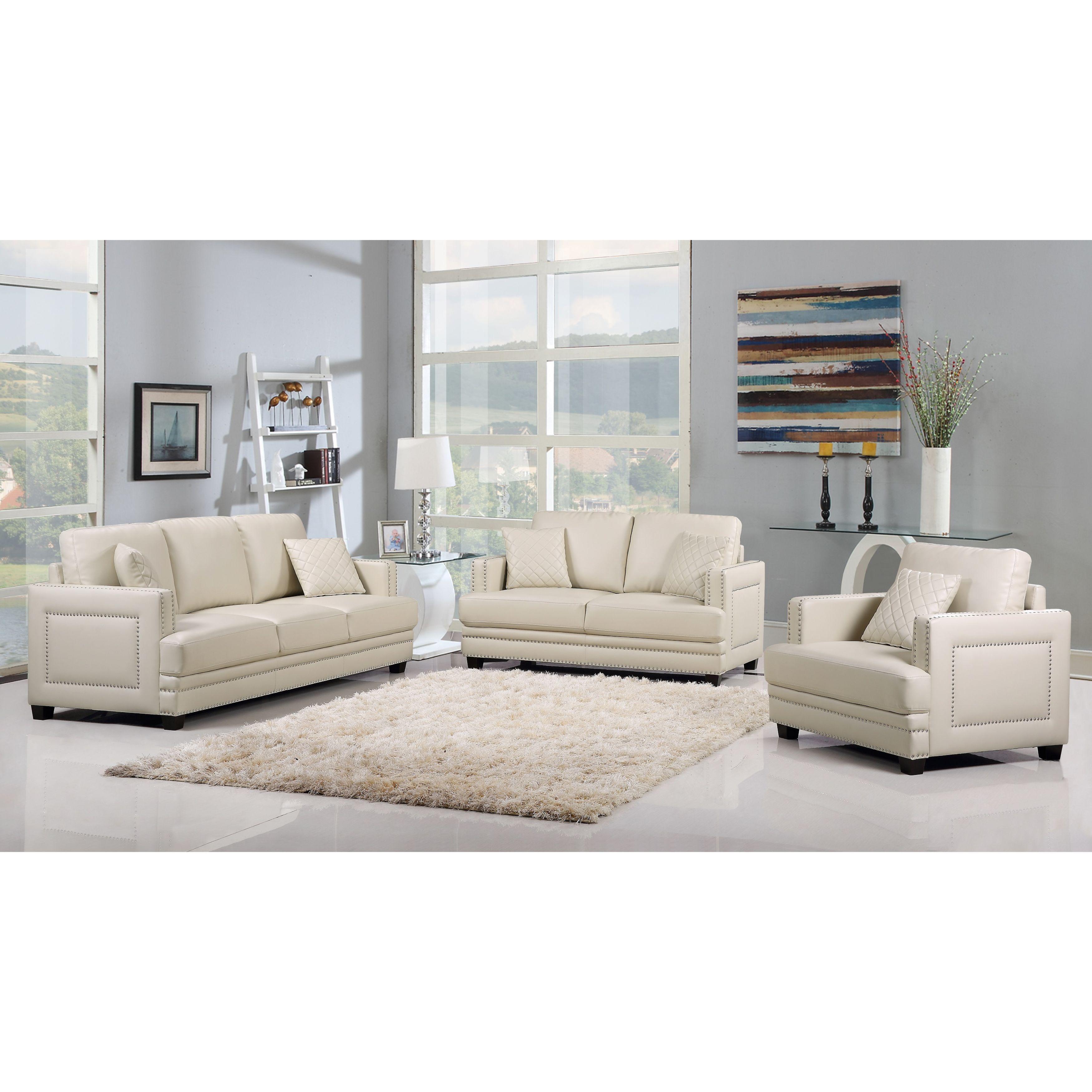 Ferrara Beige Leather Nailhead Modern Contemporary Living Room Set Overstock 11023826