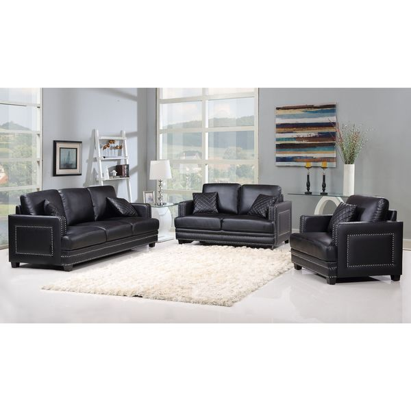 Ferrara black leather nailhead living room set free shipping today