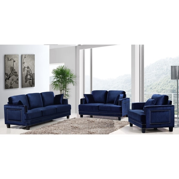 Overstock Living Room Sets: Shop Ferrara Navy Velvet Nailhead Living Room Set