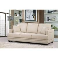 Ferrara Beige Leather Nailhead Sofa