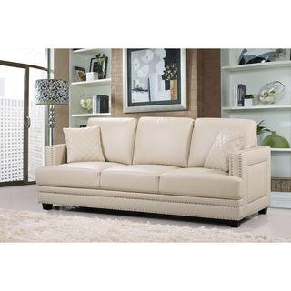 Ferrara Beige Leather Nailhead Sofa