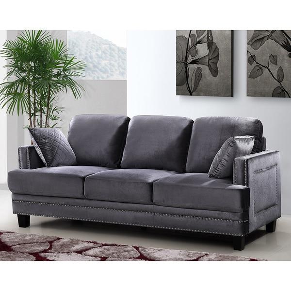 Ferrara Grey Velvet Nailhead Sofa