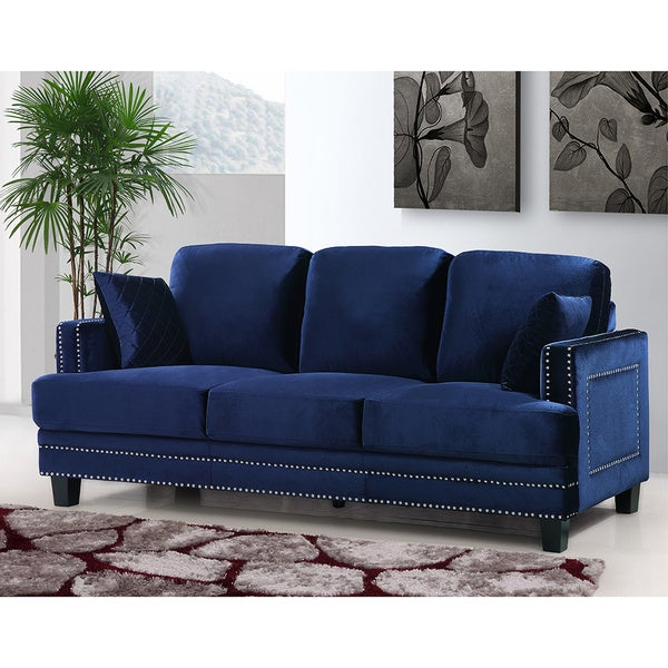 Shop Ferrara Navy Velvet Nailhead Sofa Free Shipping