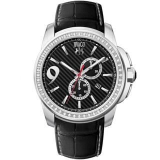 Jivago Men's JV1537 Gliese Round Black Leather Strap Watch