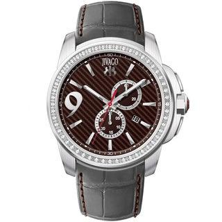 Jivago Men's JV1536 Gliese Round Grey Leather Strap Watch