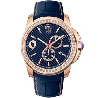 Jivago Men's JV1533 Gliese Round Blue Leather Strap Watch