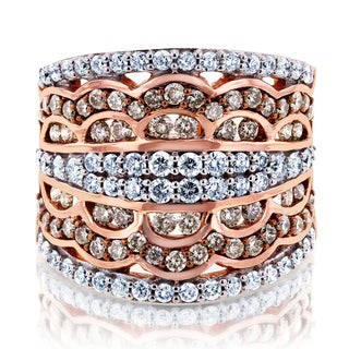 Annello by Kobelli 10k Gold 1 1/2ct TDW Champagne Diamonds Couture Statement Wide Band by Kobelli (H-I, I2)