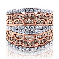 Annello by Kobelli 10k Gold 1 1/2ct TDW Champagne Diamonds Lacey Couture Wide Anniversary Ring