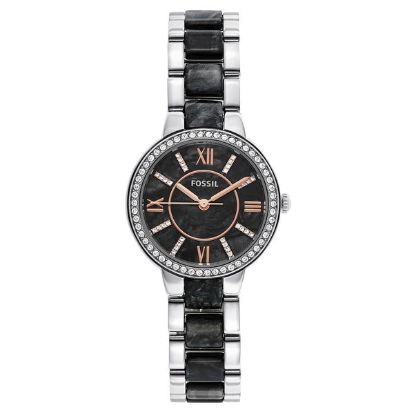 Fossil Women's ES3918 Virginia Black Dial Two-Tone Bracelet Crystal Accented Watch