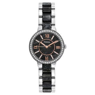 Fossil Women's ES3918 Virginia Black Dial Two-Tone Bracelet Crystal Accented Watch|https://ak1.ostkcdn.com/images/products/11023954/P18039575.jpg?impolicy=medium