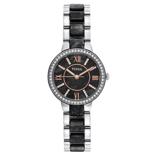 Fossil Women's Virginia Black Dial Two-Tone Bracelet Crystal Accented Watch
