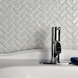 SomerTile 11x11.5-inch London Herringbone White Ceramic Floor and Wall Tile (Case of 5)