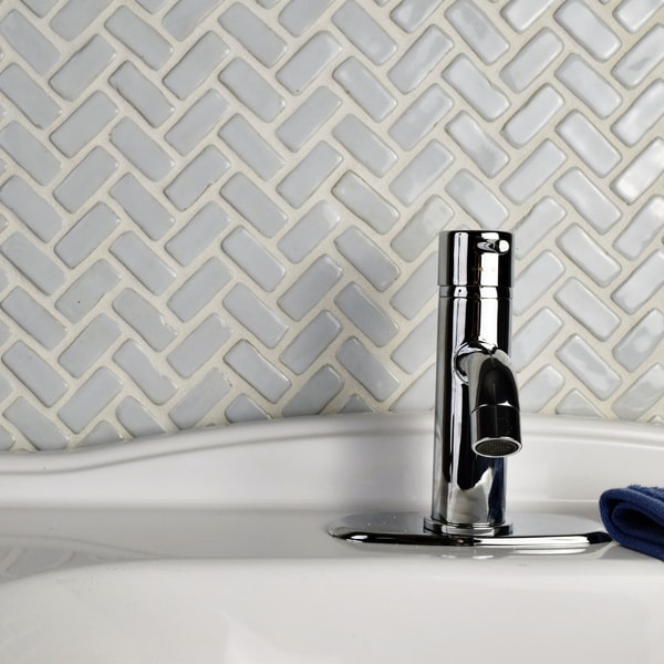 SomerTile 11x11.5-inch London Herringbone White Ceramic Floor and ...