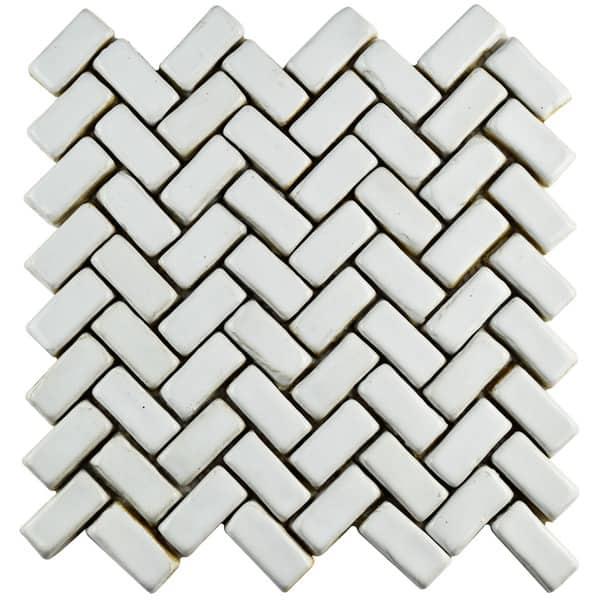 Somertile 11x11 5 Inch London Herringbone White Ceramic