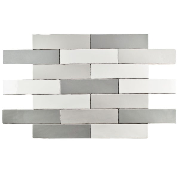 Somertile 3x12 Inch Juneau Craquelle Gris Mix Ceramic Wall Tile 16 Tiles 4