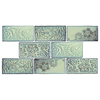 SomerTile 3x6-inch Antiguo Feelings Agua Marina Ceramic Wall Tile (Pack of 8)