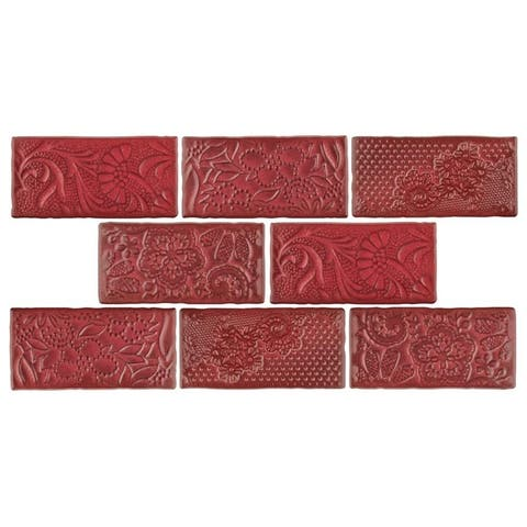 SomerTile 3x6-inch Antiguo Feelings Red Moon Ceramic Wall Tile (8 tiles/1 sqft.)