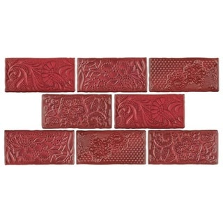 SomerTile 3x6-inch Antiguo Feelings Red Moon Ceramic Wall Tile (Pack of 8)