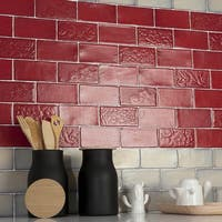 SomerTile 3x6-inch Antiguo Special Red Moon Ceramic Wall Tile (8 tiles/1 sqft.)