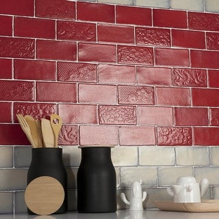 SomerTile 3x6 Inch Antiguo Special Red Moon Ceramic Wall Tile (Pack Of 8)