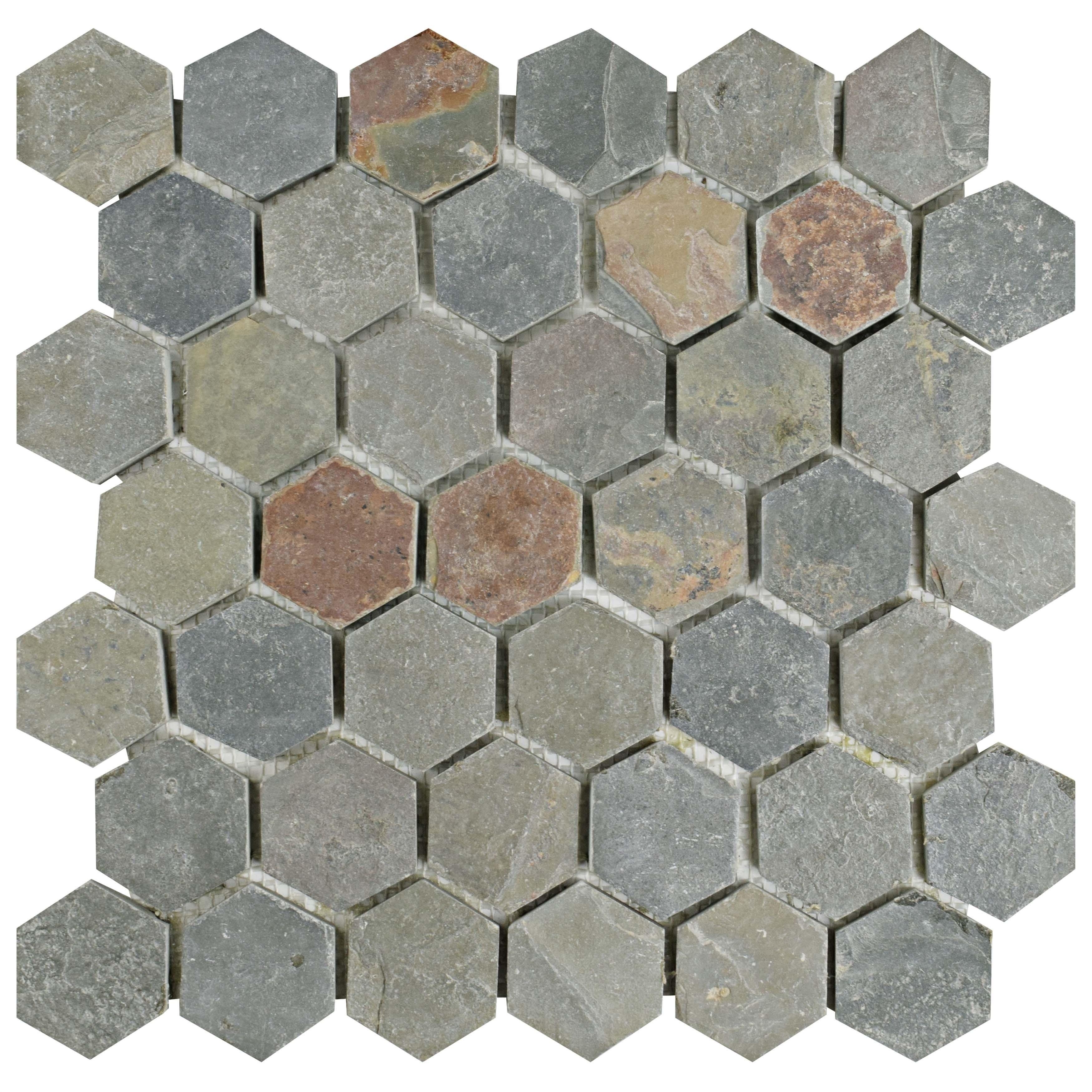 Somertile 12x12-inch Ridge Hexagon Multi Slate Natural Stone Floor and Wall Tile (Case of 10) (Ridge Hexagon Multi Slate), Grey, Size 12 x 12