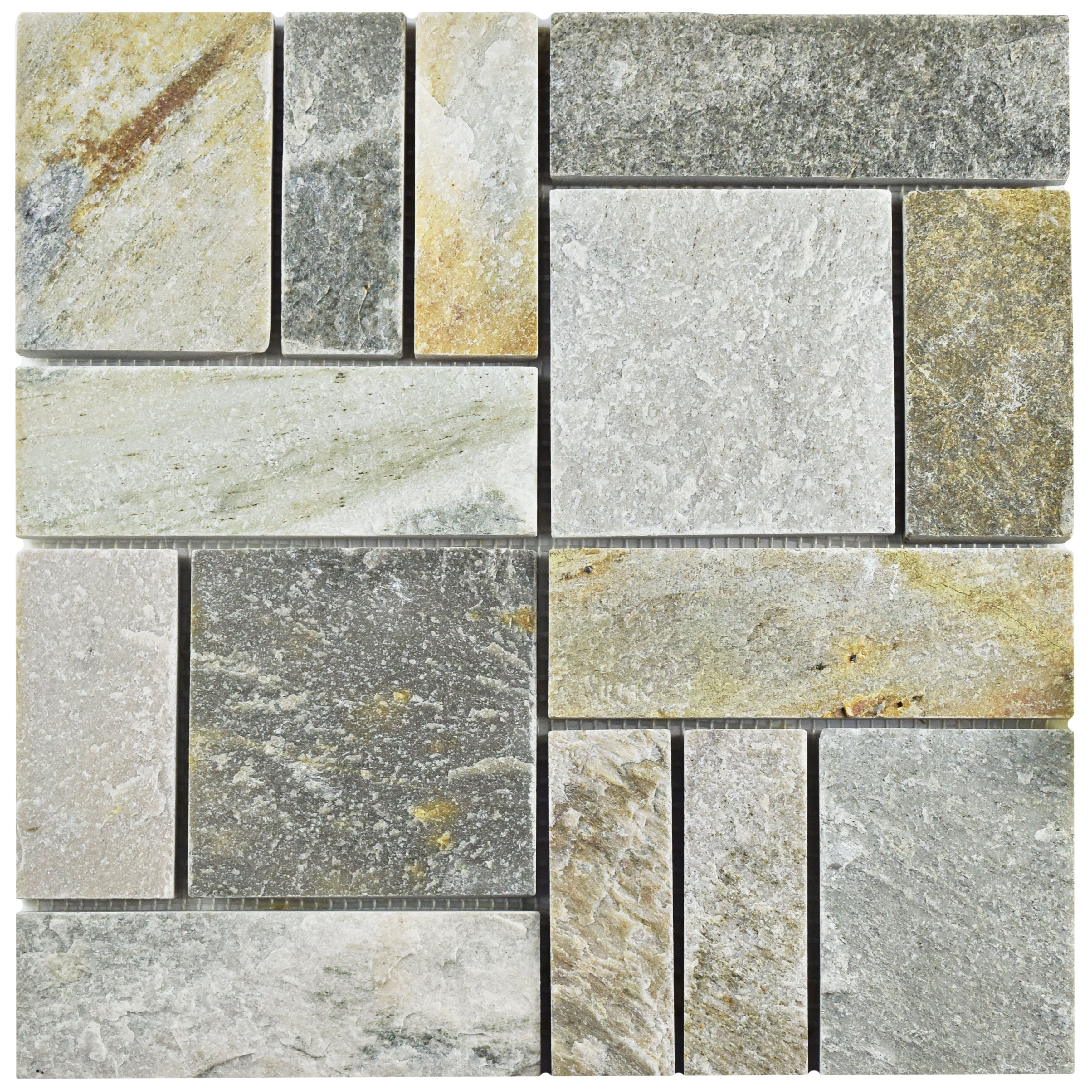 """Somertile SCRPTQA Cliff Patchwork Arizona Quartzite Natural Stone Mosaic Floor and Wall Tile, 12"""" x 12"""", Grey/Brown/Be"""