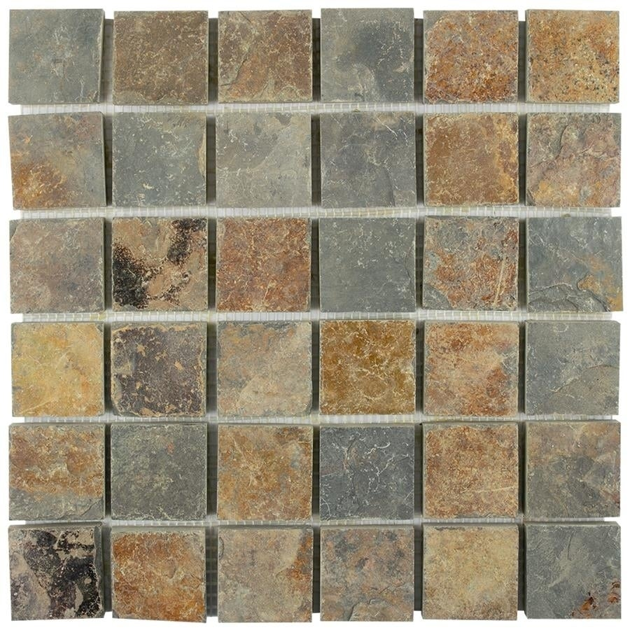 Somertile 12x12-inch Ridge Quad Sunset Slate Natural Stone Floor and Wall Tile (Case of 10) (Ridge Quad Sunset Slate), Beige, Size 12 x 12