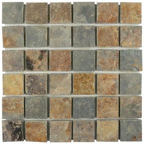 SomerTile 12x12-inch Ridge Quad Sunset Slate Natural Stone Mosaic Floor and Wall Tile (10 tiles/10.21 sqft.)