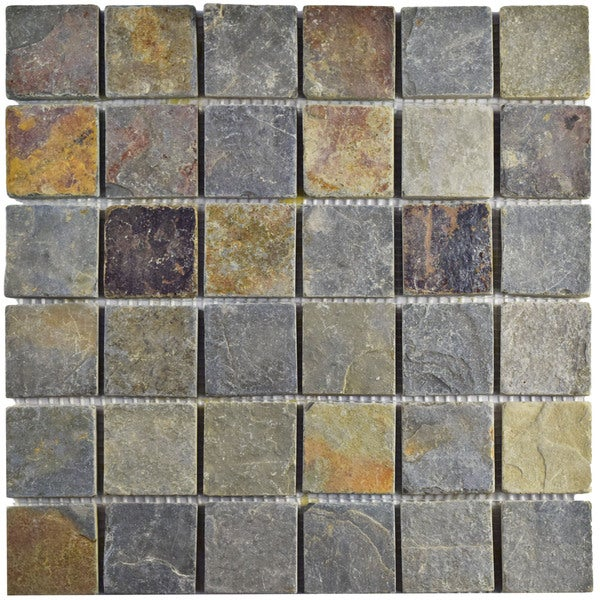 Somertile 12x12 Inch Ridge Quad Sunset Slate Natural Stone