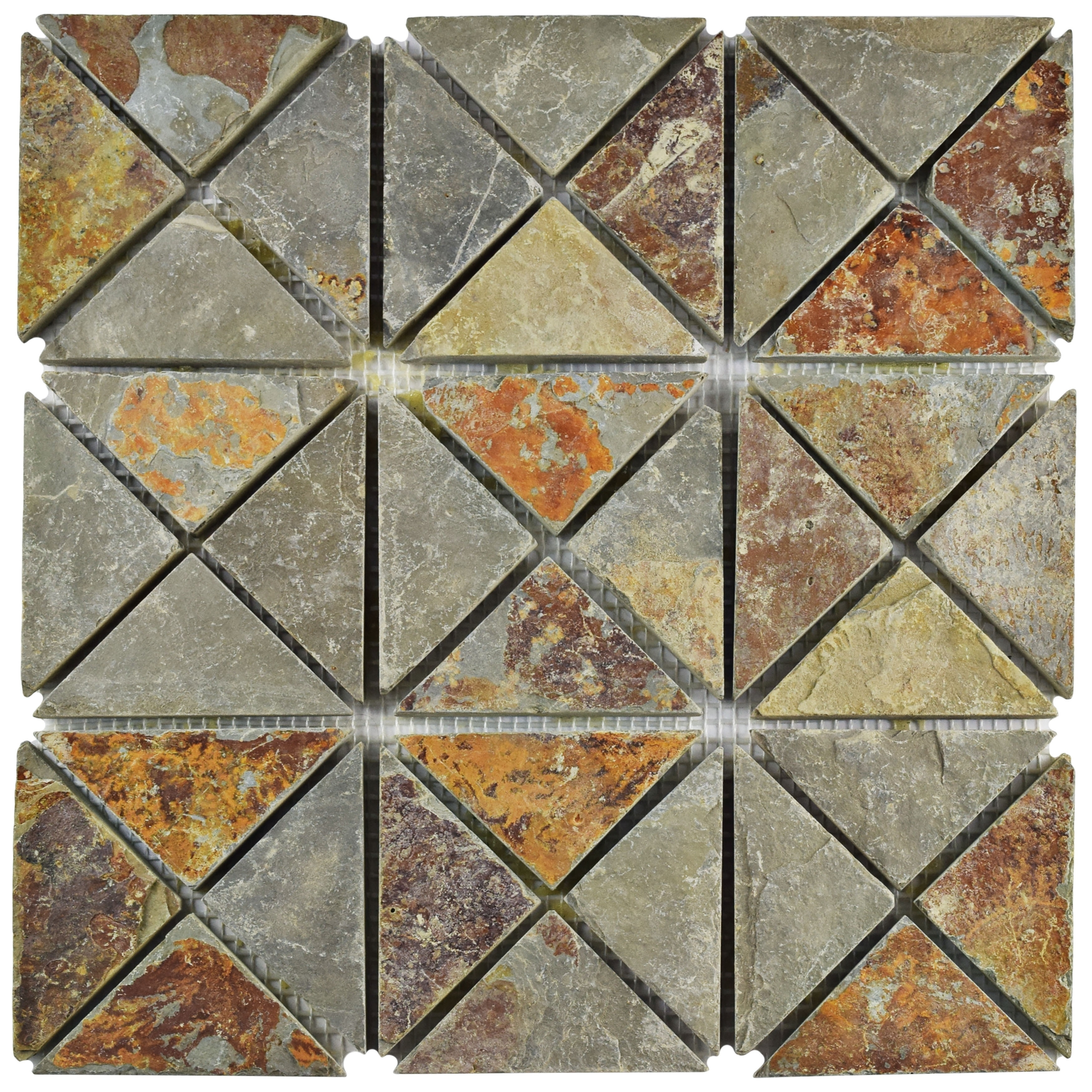 Somertile 12x12-inch Ridge TriSquare Sunset Slate Natural Stone Floor and Wall Tile (Case of 10) (Ridge TriSquare Sunset Slate), Beige, Size 12 x 12