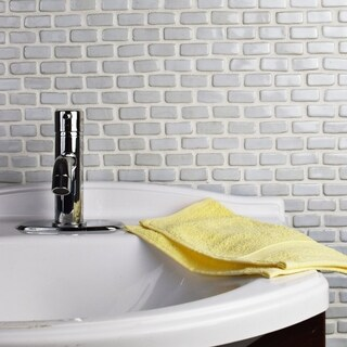 SomerTile 12x12-inch London Mini Subway White Ceramic Floor and Wall Tile (Case of 5)