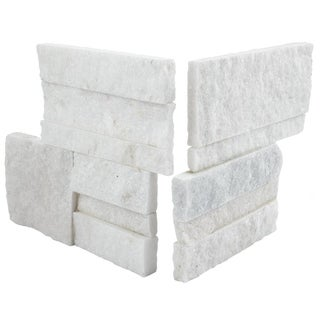 SomerTile 7x7-inch Piedra White Quartzite Natural Stone Corner Wall Tile (Pack of 2)