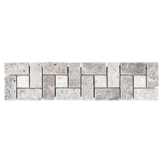 SomerTile 3x12-inch Tivoli Spiral Noce Chiaro Travertine Border Trim Wall Tile (Pack of 12)