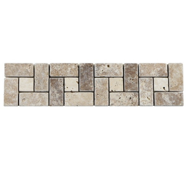 Shop SomerTile Xinch Tivoli Spiral Noce Chiaro Travertine Border - 16 inch travertine tile